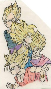 The SSJ Team. by ravendarkraven