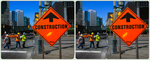 Construction Sign Toronto 3-D ::: HDR/Raw CrossEye by zour