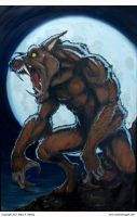 Werewolf Moon Painting, oils on canvas, 24x36 by mhelwig