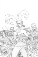 Zombies vs Cherleaders pencils by BillMcKay