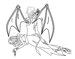 The Demon's Angel LINEART by Anarth