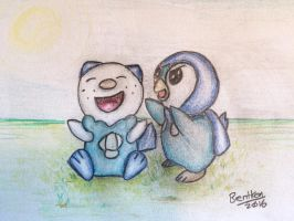 Oshawott and Piplup by brentken