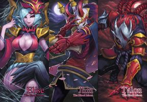 League of Legends Blood Moon Elise,Jhin,Talon by drogod
