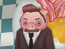 Ron Swanson pig by MekareMadness