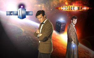 THE 10TH AND 11TH DOCTOR WALLPAPER by darthbriboy