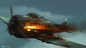Burning aircraft by popjordan
