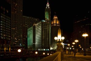 Chicago Riverfront at Night 3 by lightzone