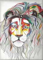 The Psychedelic lion by TheLonelyMoon8