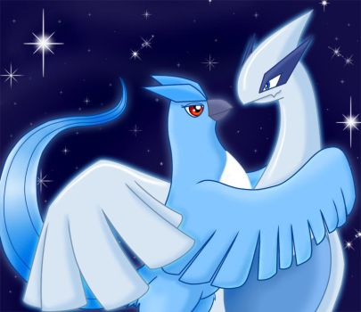 Lugia and Articuno Cuddles by Articuno