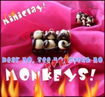 miniCLAY No Evil MONKEYS by aunjuli