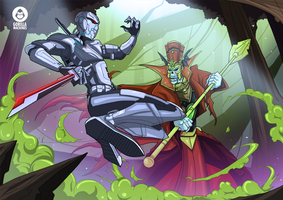 Cyborg Ninja vs Lich Commission by adhytcadelic