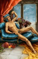 Blue-Haired Bacchus (AVAILABLE FOR FINISHING) by ebjeebies