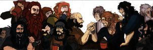hobbit:13 dwarves+bilbo baggins. by Olivietta