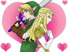 Link and Zelda by frozen--phoenix