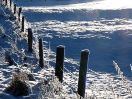 a fence in the snow by Dieffi