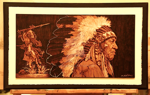Native American- Chief [Pyrography] by AdinBeg