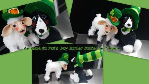Annalee St Pat's Day Border Collie and Sheep by Vesperwolfy87