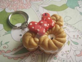 Kawaii Minnie Mouse Cruller Donut Charm Key Chain by mia831