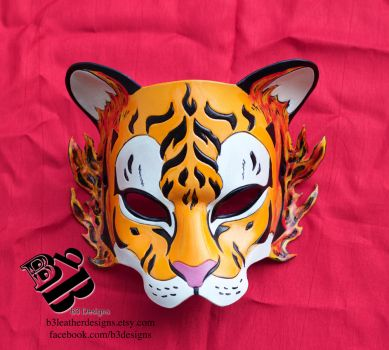 Fire Elemental Tiger Leather Mask by b3designsllc