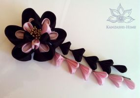 Pink and Black Ume Kanzashi by Kanzashi-Hime