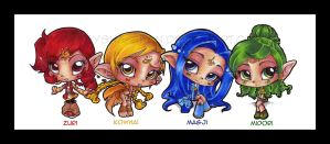 The 4 originals - chibi by KeyshaKitty