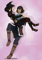 Korra and Asami by CharmingIce