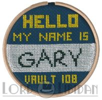 Hello My Name Is Gary Fallout 3 Cross Stitch by LordLibidan