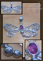 Dragonfly Filigree Pendant by linessa