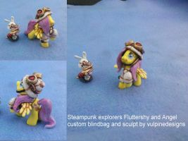 MLP customs: Fluttershy+ Angel steampunk explorers by vulpinedesigns