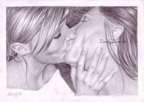 Girls Kissing by Zindy