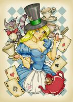 Alice's Tea Party drawing by MysticReflections