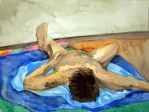 Watercolour Male Nude 5 by Natsuyume