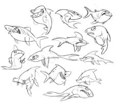 Shark week sketches by doingwell