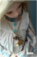 Golden Feather Chain Necklace by SheCow