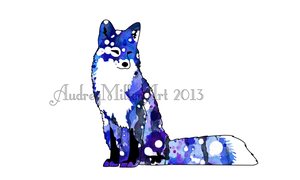 Blue Galaxy Star Fox by AudreyMillerArt