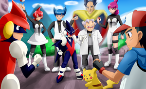 Ash, Pikachu and Pulseman VS Neo Team Galactic by Riadorana