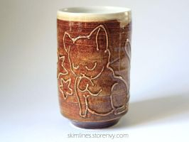 Neat cat tea cup 0721 by skimlines