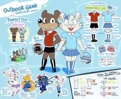 Outfit ref - Outdoor Gear (shorts/skirt version) by Machu