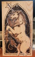 Pyrography - Unicorn on chestnut by BumbleBeeFairy