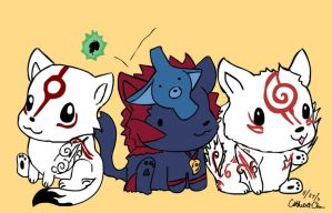 Okami Wolf Trio by xCarnationFox