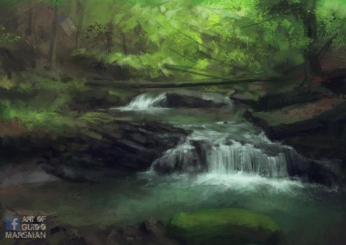 Forest river by Lolzdui