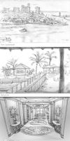 Caribbean Vacation sketches by PigeonKill
