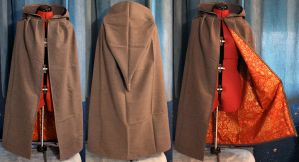 Grey, Red, and Gold Swirls Hooded Cloak by SerenFey