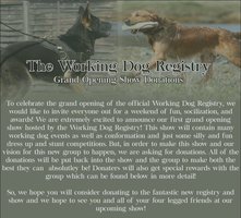 Grand Opening Working Dog Registry Show Donations by Sommer-Studios