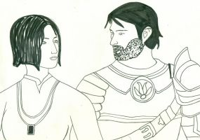 Brother and Sister line drawin by Asukauk