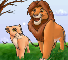 Simba and Kiara in the fields by Sabientje