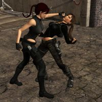 Lara And doppelganger Fight by Hairhelmet12
