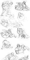 sketch dump 6 Heavy Wrestling by KGBigelow
