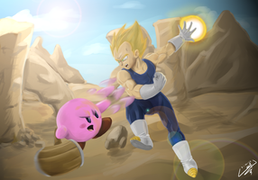 Kirby vs Vegeta by wtfisalinh