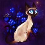 Siamese Cat (Forget me Not) by LilaCattis